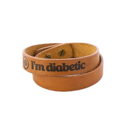 Кожаный браслет двойной «I'm Diabetic»